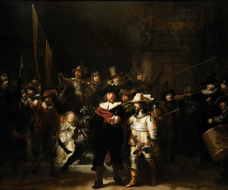 The Company of Frans Banning Cocq and Willem van Ruytenburch known as the «Night Watch». Rembrandt Harmenszoon Van Rijn