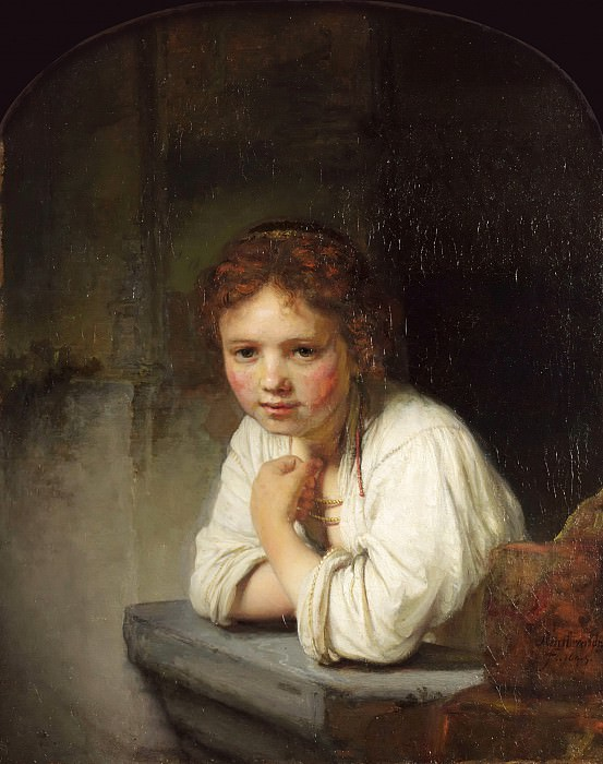 A Young Girl Leaning on a Window. Rembrandt Harmenszoon Van Rijn