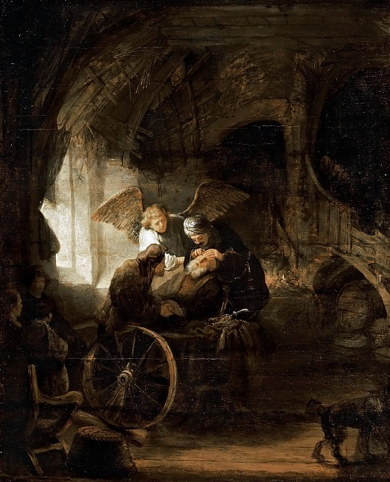 Tobias Returns Sight to His Father (attr). Rembrandt Harmenszoon Van Rijn