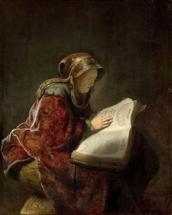 An Old Woman Reading, probably the Prophetess Anna. Rembrandt Harmenszoon Van Rijn