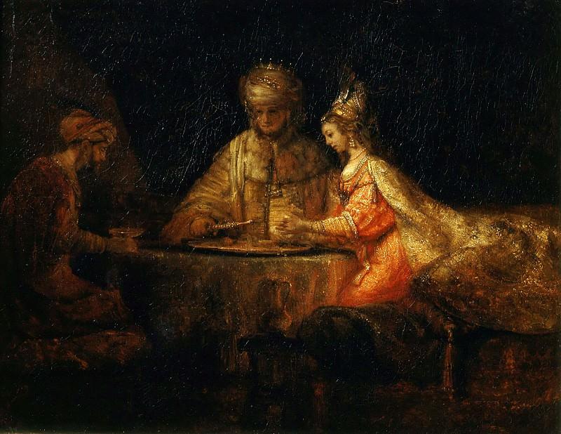 Assuerus, Haman and Esther. Rembrandt Harmenszoon Van Rijn