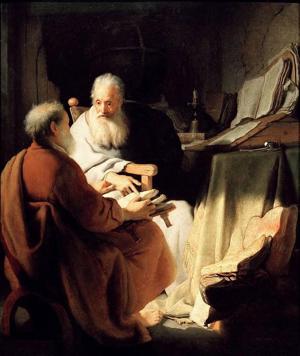 Two old Men disputing (Peter and Paul). Rembrandt Harmenszoon Van Rijn