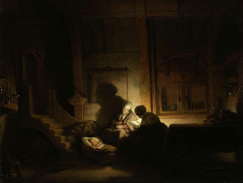 Святое семейство ночью (мастерская Рембрандта). Рембрандт Харменс ван Рейн