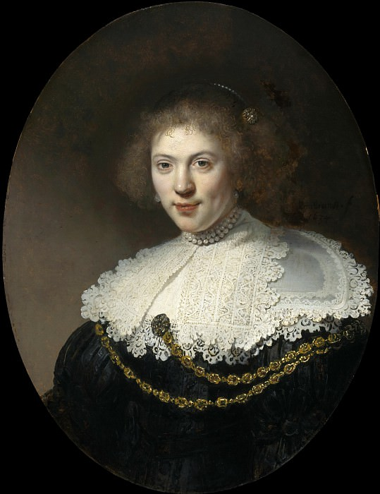 Portrait of a Woman Wearing a Gold Chain. Rembrandt Harmenszoon Van Rijn