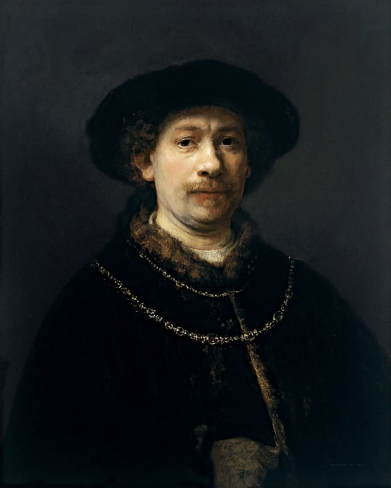 Self-portrait wearing a Hat and two Chains. Rembrandt Harmenszoon Van Rijn