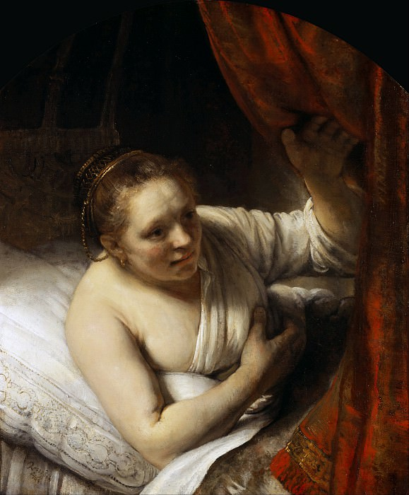 A Woman in Bed (Sarah waiting for Tobias). Rembrandt Harmenszoon Van Rijn