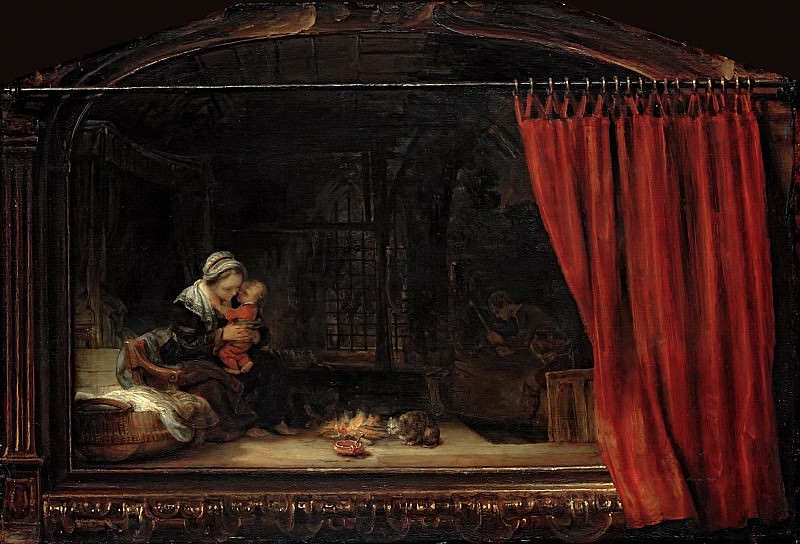 The Holy Family with a Curtain. Rembrandt Harmenszoon Van Rijn