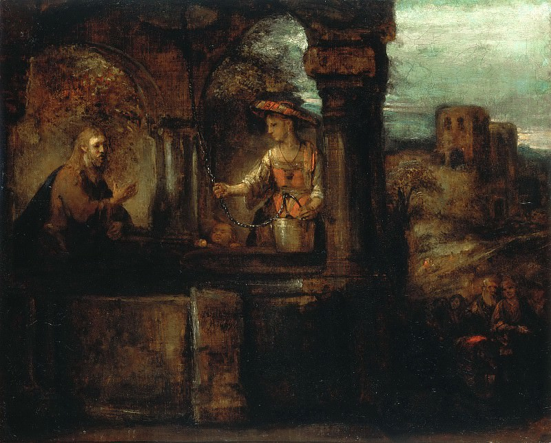 Christs conversation with the Samaritan woman (attr). Rembrandt Harmenszoon Van Rijn