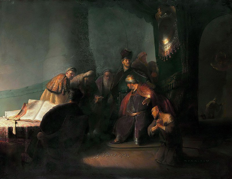 Judas Repentant, Returning the Pieces of Silver. Rembrandt Harmenszoon Van Rijn