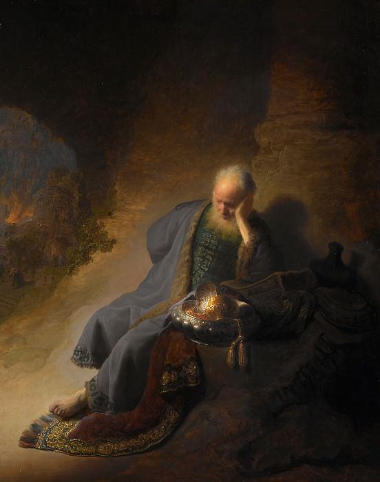 Jeremiah Lamenting the Destruction of Jerusalem. Rembrandt Harmenszoon Van Rijn