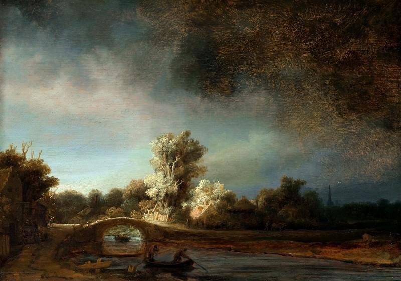 De stenen brug. Rembrandt Harmenszoon Van Rijn