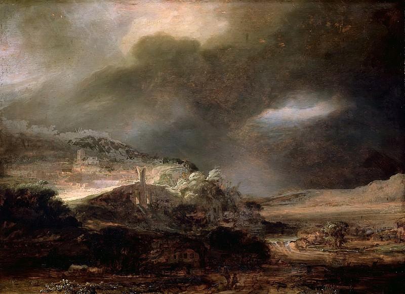 Горный пейзаж с грозой. Рембрандт Харменс ван Рейн