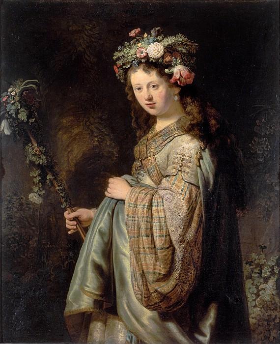 Saskia as Flora. Rembrandt Harmenszoon Van Rijn