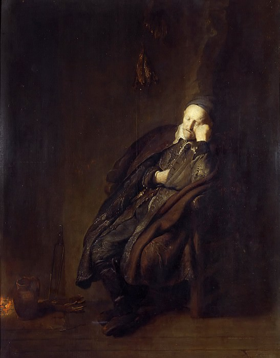 An Old Man Asleep at the Hearth. Rembrandt Harmenszoon Van Rijn