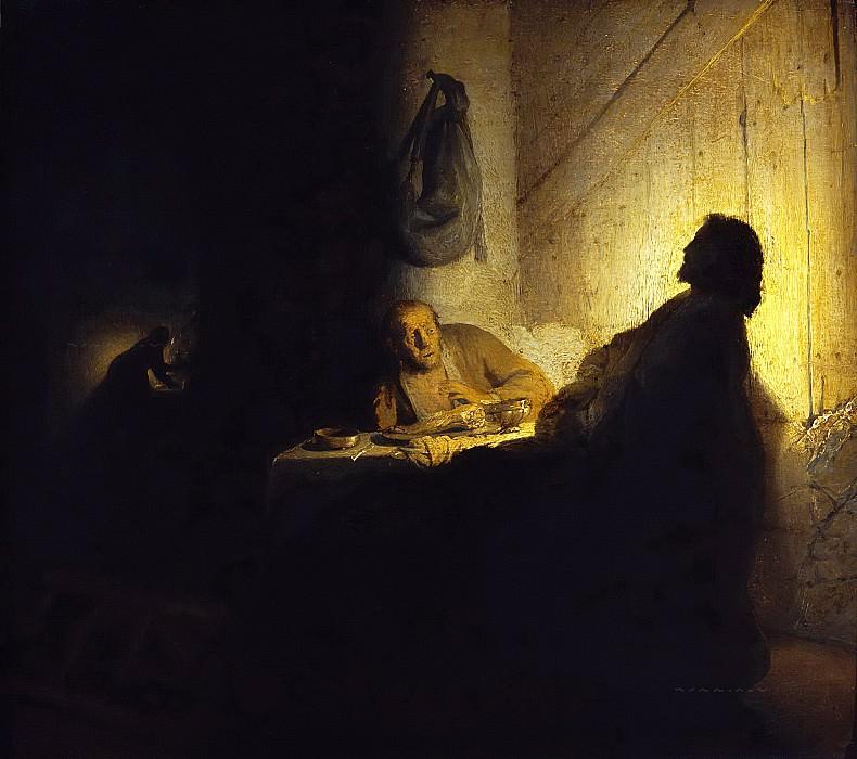 Pilgrims at Emmaus. Rembrandt Harmenszoon Van Rijn