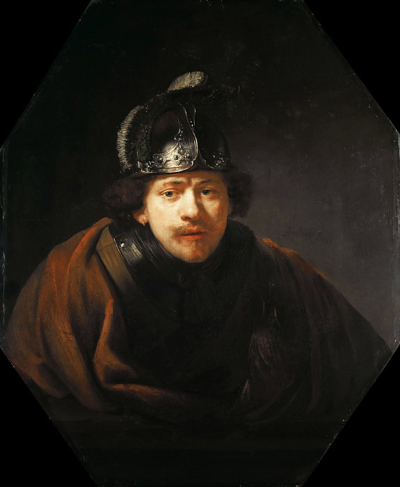 Self Portrait with Helmet. Rembrandt Harmenszoon Van Rijn
