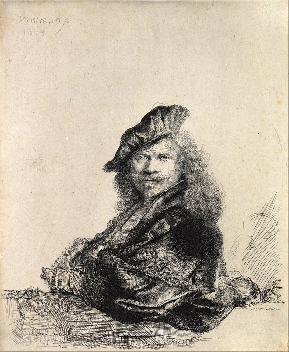 Self-Portrait Leaning on a Stone Sill. Rembrandt Harmenszoon Van Rijn