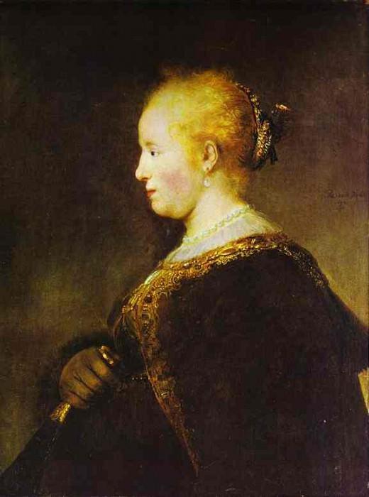 Портрет молодой женщины с веером. Рембрандт Харменс ван Рейн