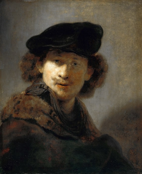 Rembrandt (1606-1669) - Self-portrait in a Cap and Fur-trimmed Cloak. Part 4
