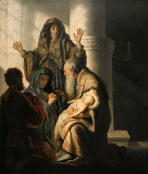 Anna and Simeon in the Temple. Rembrandt Harmenszoon Van Rijn