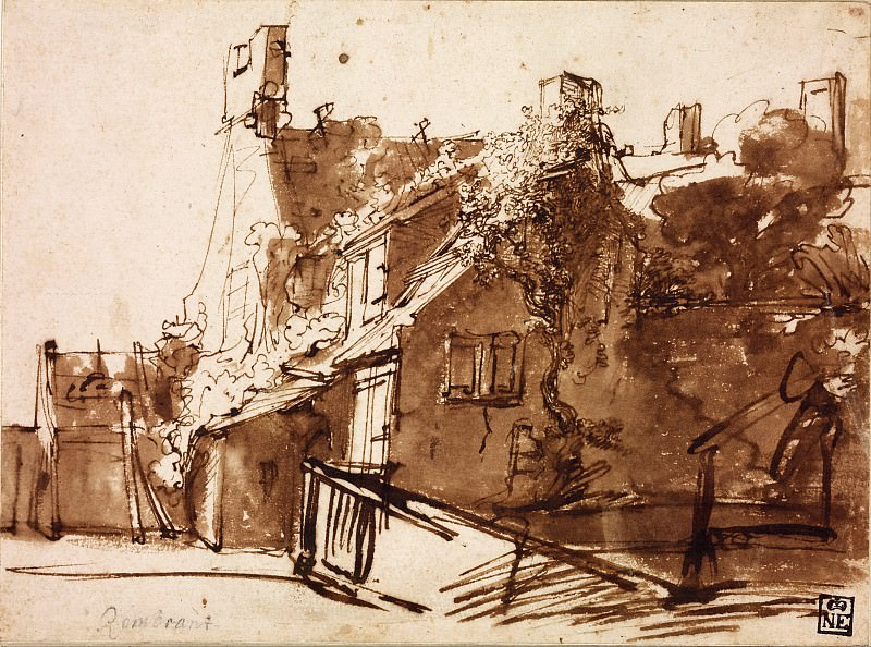 Dutch Farmhouse in Sunlight. Rembrandt Harmenszoon Van Rijn