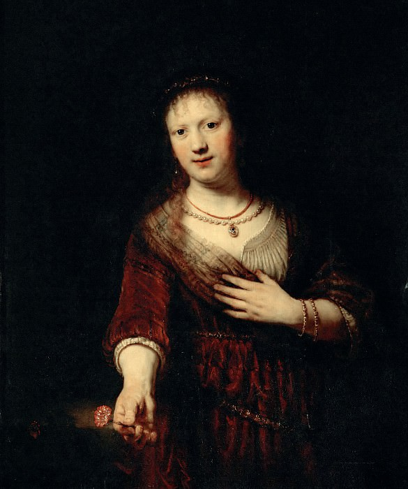 Saskia with a Red Flower. Rembrandt Harmenszoon Van Rijn