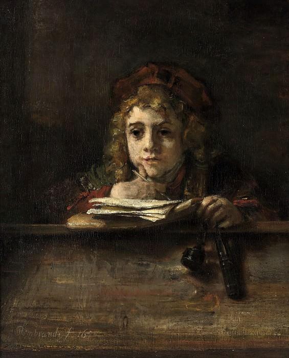 Титус за партой. Рембрандт Харменс ван Рейн