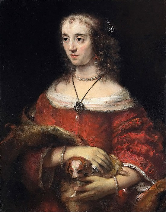Портрет женщины с собачкой. Рембрандт Харменс ван Рейн