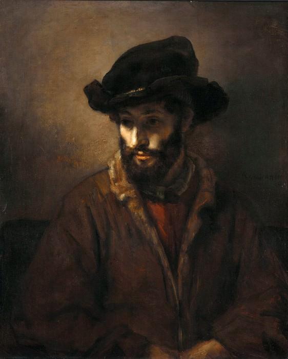 A bearded man wearing a hat. Rembrandt Harmenszoon Van Rijn (studio)