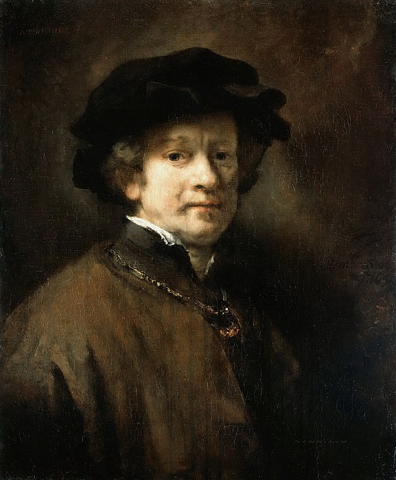 Self Portrait with Cap and Gold Chain. Rembrandt Harmenszoon Van Rijn