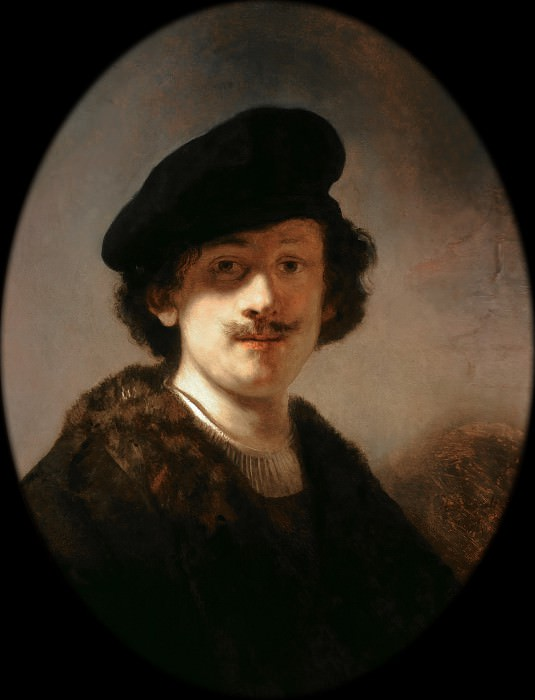 Self-portrait with shaded eyes. Rembrandt Harmenszoon Van Rijn