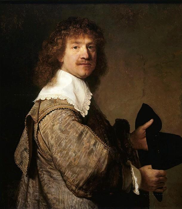 Portrait of a man holding a hat. Rembrandt Harmenszoon Van Rijn