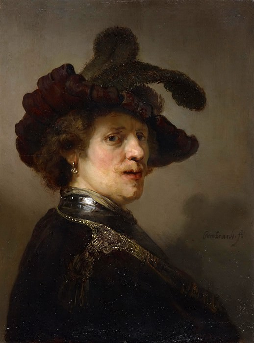 Man With A Plumed Cap (attr). Rembrandt Harmenszoon Van Rijn