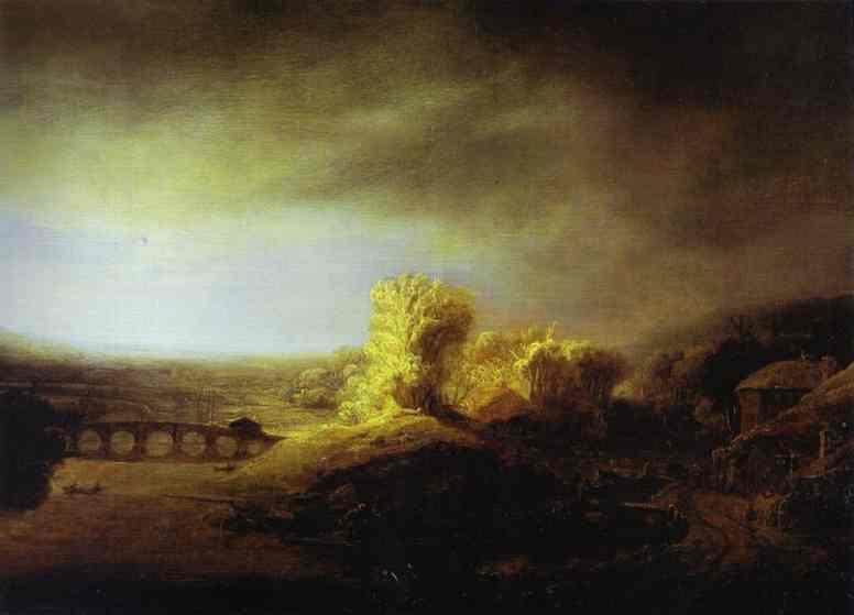 Landscape with a Bridge (attr). Rembrandt Harmenszoon Van Rijn