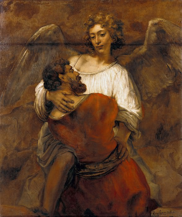 Wrestling with the Angel. Rembrandt Harmenszoon Van Rijn