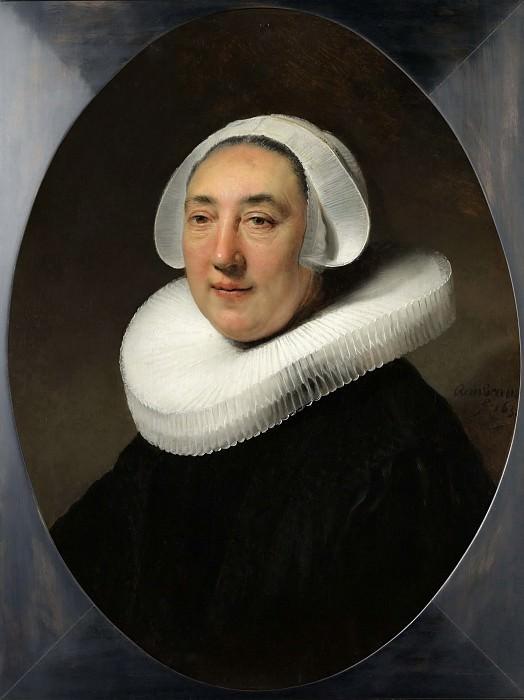 Portret van Haesje Jacobsdr van Cleyburg. Rembrandt Harmenszoon Van Rijn