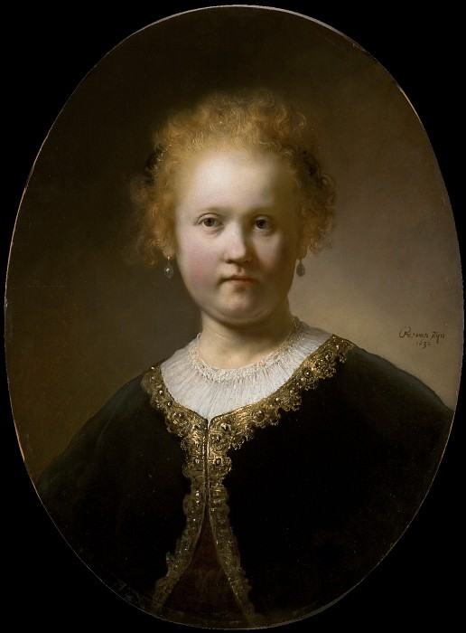 Young Girl in a Gold-Trimmed Cloak. Rembrandt Harmenszoon Van Rijn
