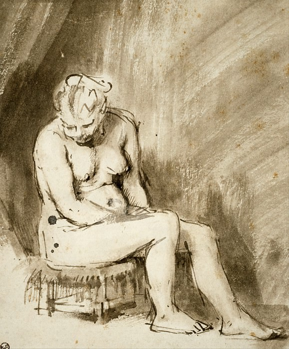 Nude Woman Seated on a Stool. Rembrandt Harmenszoon Van Rijn