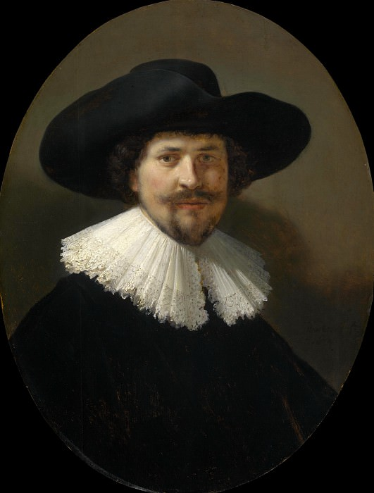Portrait of a man wearing a black hat. Rembrandt Harmenszoon Van Rijn
