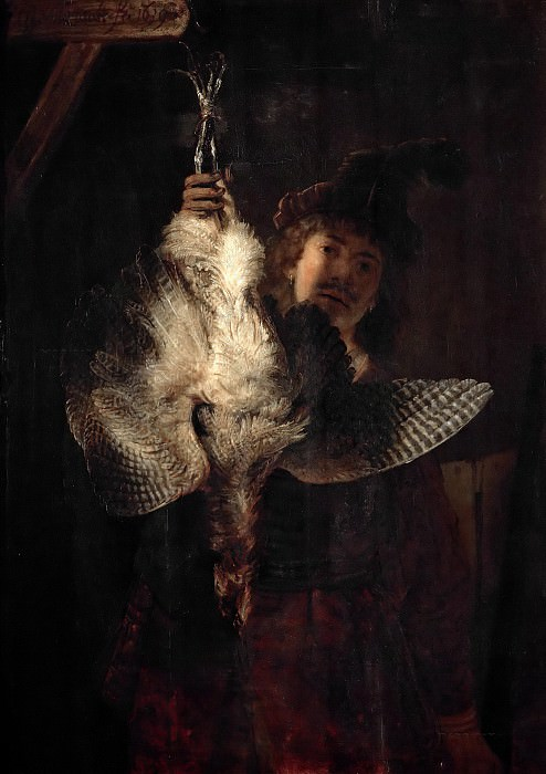 Dead Bittern Held High by Hunter. Rembrandt Harmenszoon Van Rijn