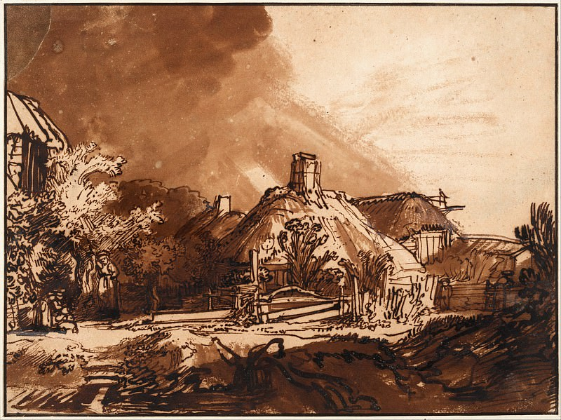 Cottages under a Stormy Sky. Rembrandt Harmenszoon Van Rijn