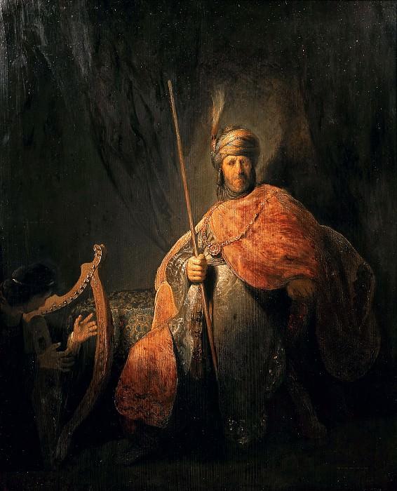 Давид играет на арфе Саулу. Рембрандт Харменс ван Рейн