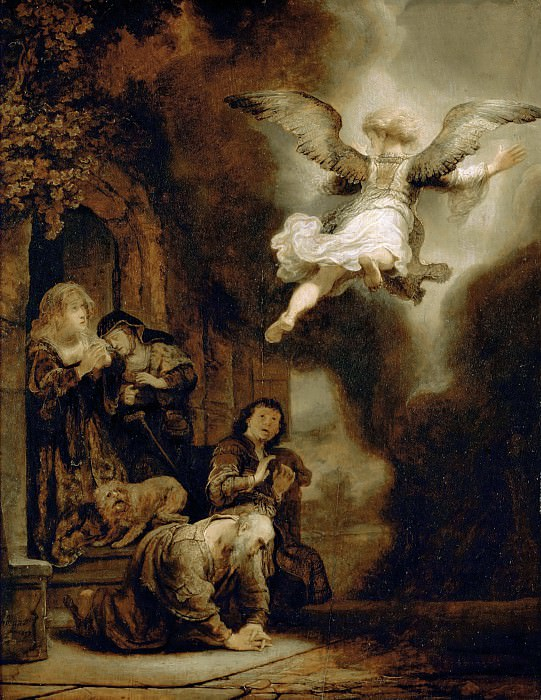 Archangel Raphael Leaving the Family of Tobit. Rembrandt Harmenszoon Van Rijn