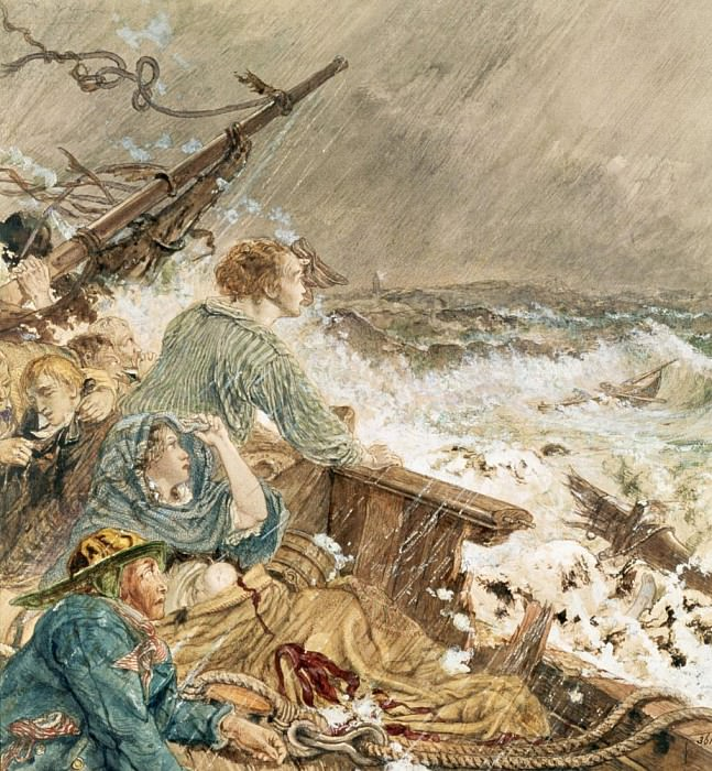 Грейс Дарлинг и её отец спасают команду корабля, потерпевшего кораблекрушение, 7 сентября 1838. Уильям Белл Скотт
