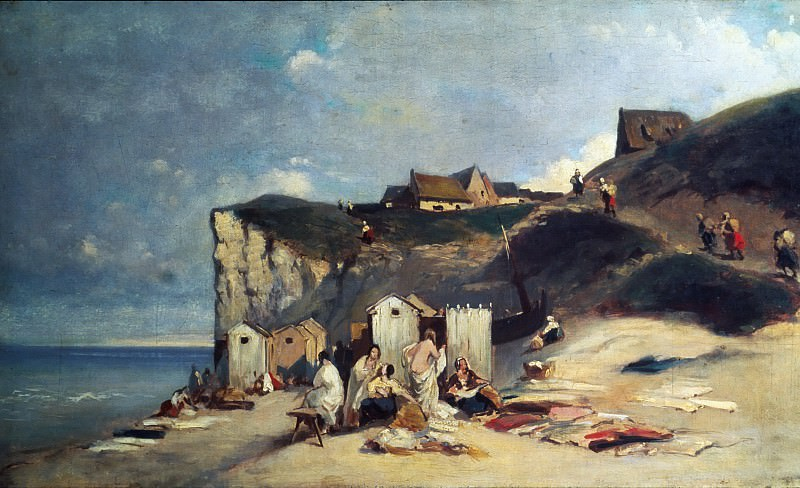 Women Bathing by the sea at Dieppe. Carl Spitzweg