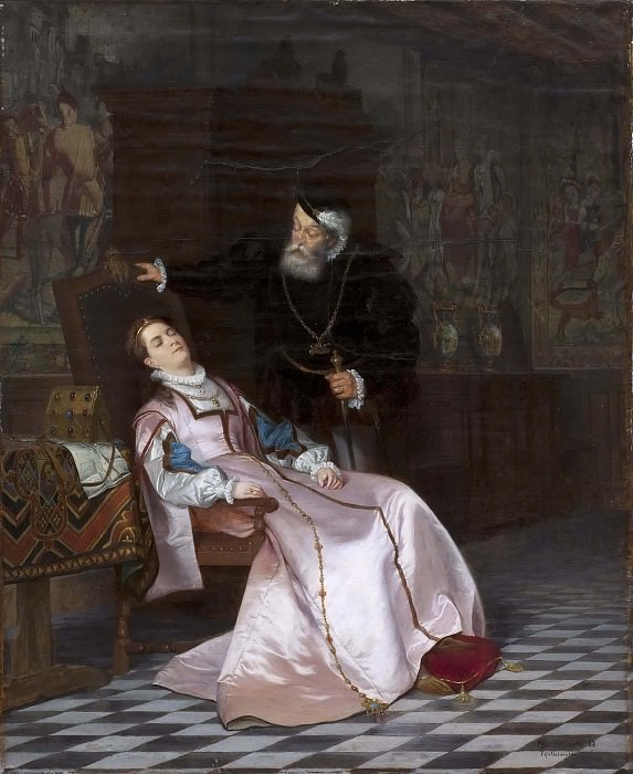 Gustav Vasa finds his consort Katarina Stenbock asleep and hear her say. Hugo Federick Salmson