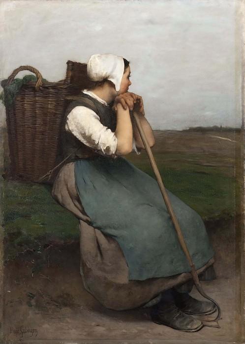 French Peasant Girl. Souvenir de Picardie. Hugo Federick Salmson