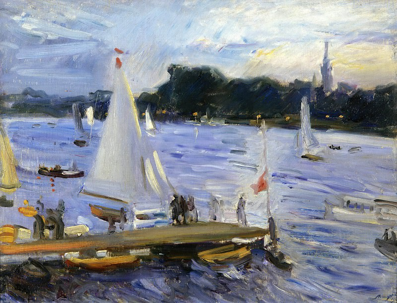 Sailing boats on the Alster Lake in the evening. Max Slevogt