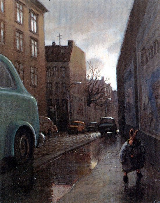 Sa32 Rabbit on a Rainy Street MichaelSowa sqs. Michael Sowa