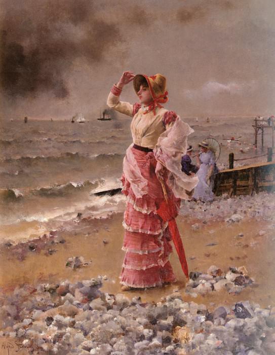 Femme Elegante Voyant Filer Un Vapeur. Alfred Stevens